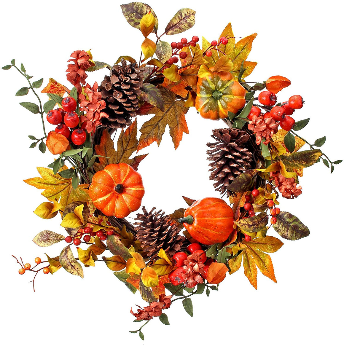 TenWaterloo 20 Inch Autumn Harvest Wreath with Artificial Pumpkins, Gourds Fall Leaves on a Grapevine Base