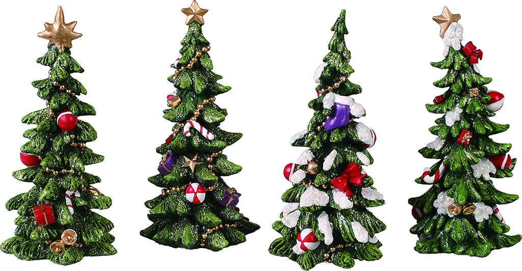 Resin Holiday Tree Set of 4 Figurine, Green
