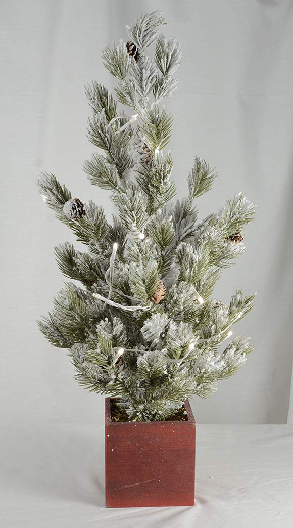 TenWaterloo Flocked Potted Christmas Pine Tree with Timer and Lights and Pine Cones 24 Inch High, Artificial Pine Decor
