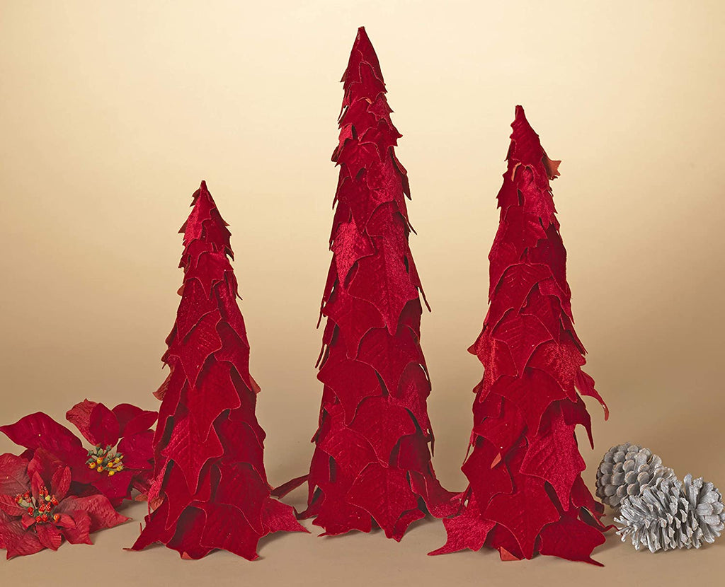 Set of 3 Red Velvet Poinsettia Cone Trees, Christmas Cone Trees- 15, 18 and 21 Inches High