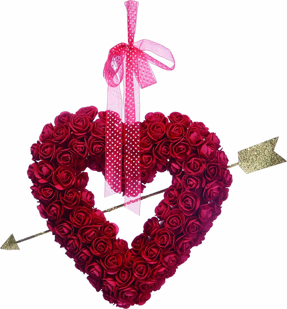 Valentine's Day Heart Wreath with Roses 13.25 Inches - Glittered Gold Cupid's Arrow and Hanging Ribbon on Artificial Clustered Rose Wreath