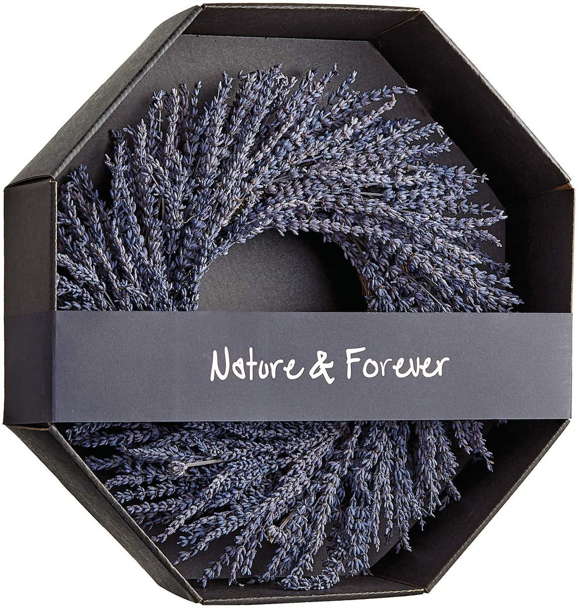 Allstate 14 Inch Preserved Lavender Natural Wreath, Fragrant Real Lavender Front Door Wreath
