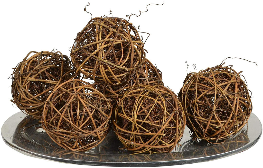 DE Set of 6 Natural Brown Vine Balls 2.5 Inches Diameter with Green Raffia Grass Filler, Bowl and Vase Filler