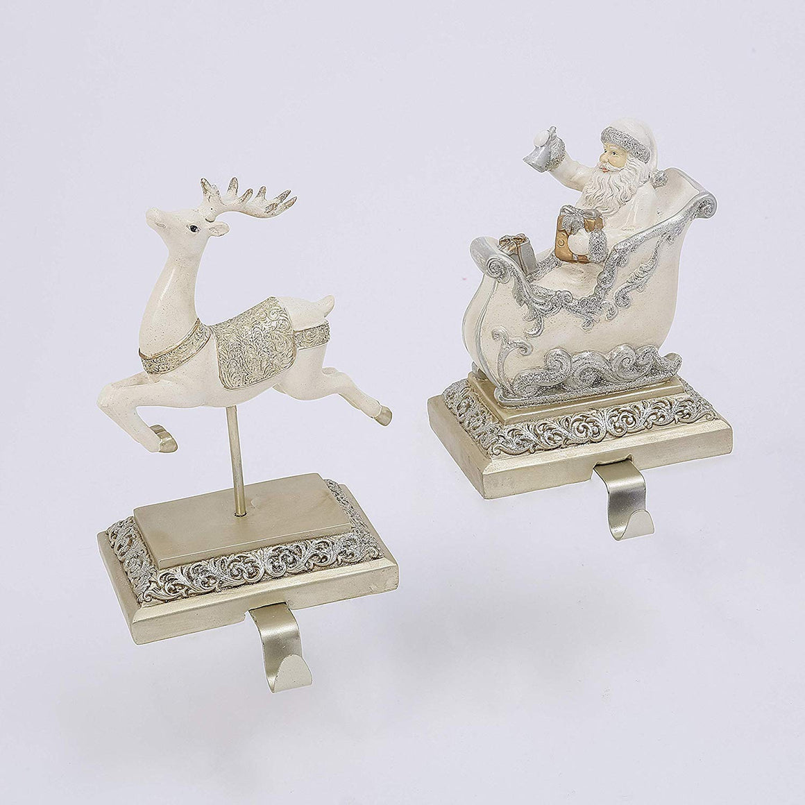 Set of 2 Gilded Stocking Holders in Cream and Gold and Silver, Santa in Sled and Reindeer in Sculpted Resin