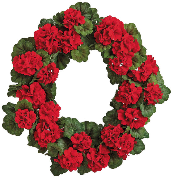 TenWaterloo 24 Inch UV Protected Red Geranium Wreath, Artificial Floral