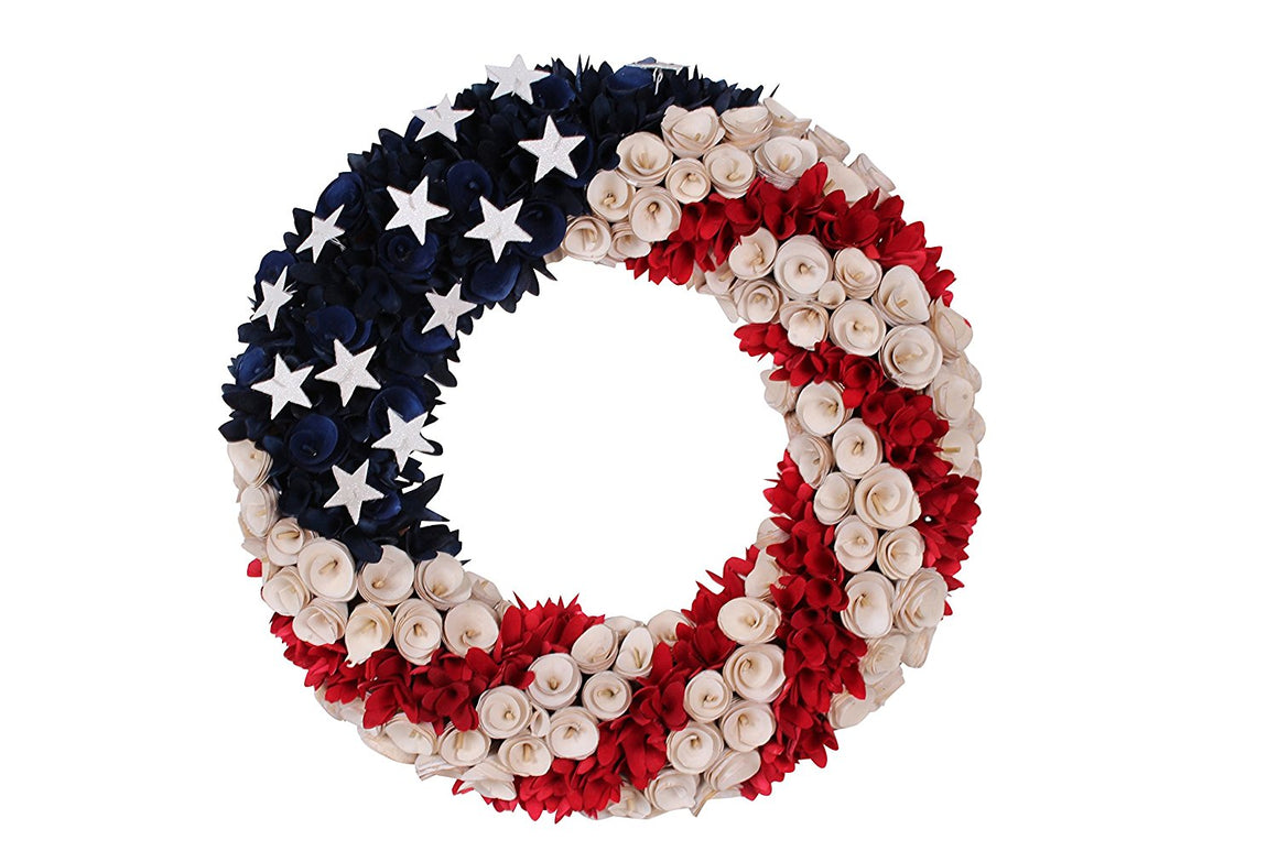 19 Inch Wood Curled Roses Patriotic Wreath in Red, White & Blue - Front Door Wreath