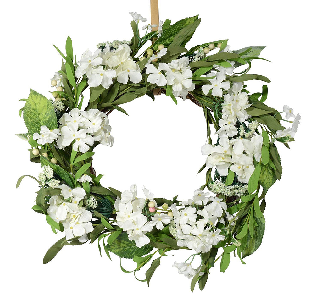 Ten Waterloo 22 Inch White Artificial Hydrangea Wreath on Natural Twig Base