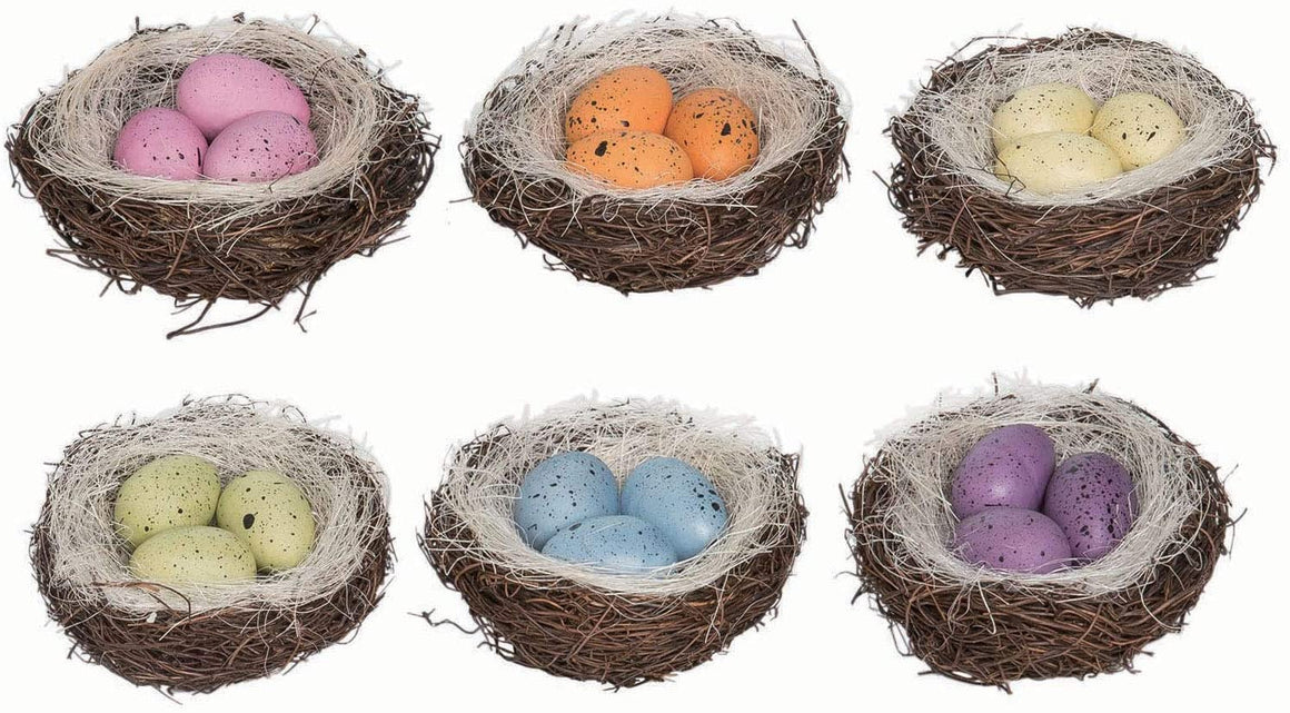Set of 6 Bird's Nests with Eggs- Purple, Blue, Green, Yellow, Orange, Pink- Spring and Easter Décor, 3.75 Inches Wide Each