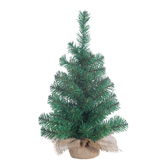 Small Christmas Tree Indoor Gerson Tabletop 18 Inch Pine Tree with Burlap Base Miniature Artificial Green with Lots of Branches for Decorations and Lights
