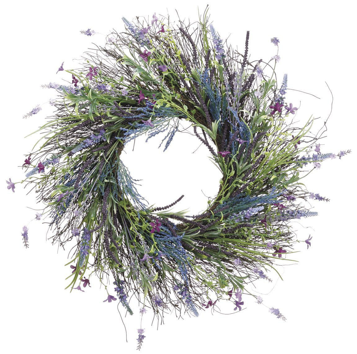 24 Inch Lavender, Fern, Spring Flowers and Wild Grass Wreath On Twisted Vine Base- Outdoor, Indoor Use