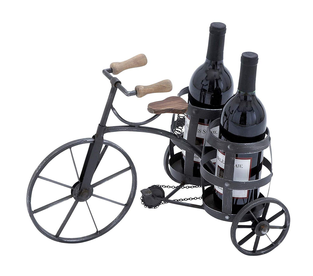 Ten Waterloo Metal and Wood Bicycle Wine Bottle Holder - Cycling 2 Bottle Holder 17 Inches Long x 12 Inches High x 10.5 Inches Deep