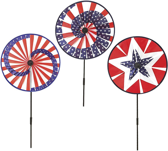 Alan Set of 3 Patriotic Wind Spinners - Red, White and Blue Americana Yard Spinners 15.5 Inches Wide x 39.5 Inches High Each