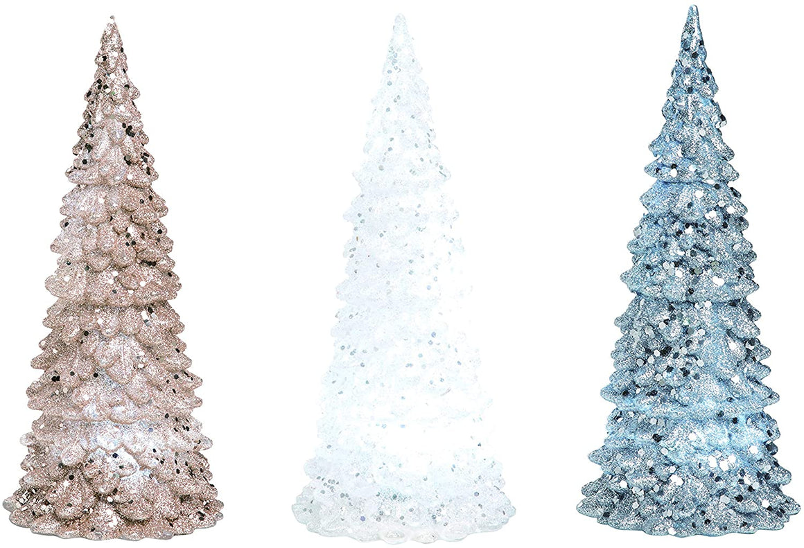 Transpac Acrylic Glittered LED Lighted Christmas Tree Tabletop Decoration, 7 Inches High - Silver, White & Gold