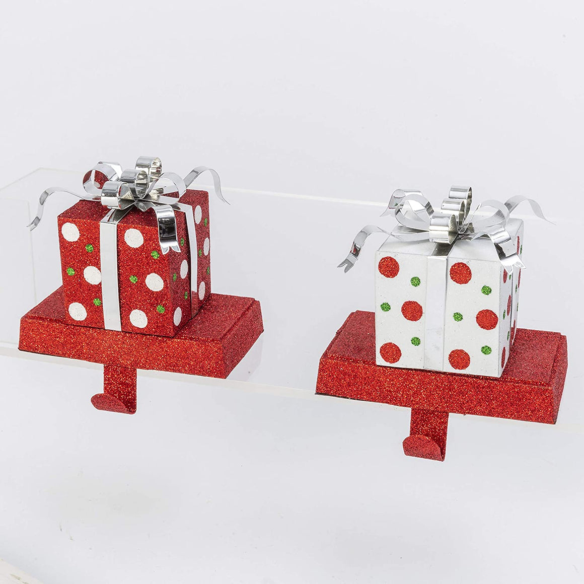 TenWaterloo Set of 2 Red and White Gift Box Shaped Metal Stocking Hangers with Silver Bows