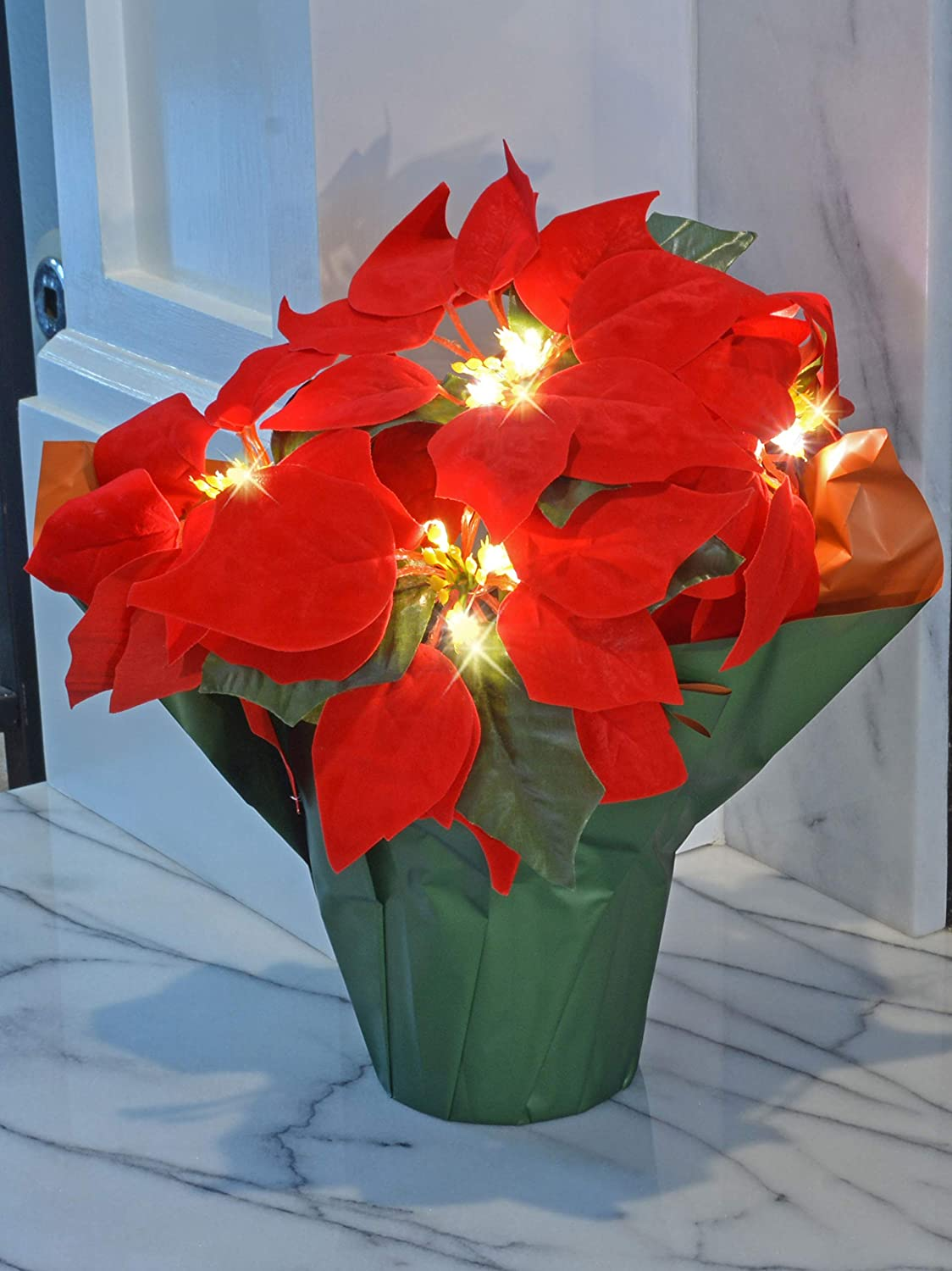 TenWaterloo 12 Inch High LED Lighted Artificial Red Christmas Potted Poinsettia Plant, Battery Operated with Timer