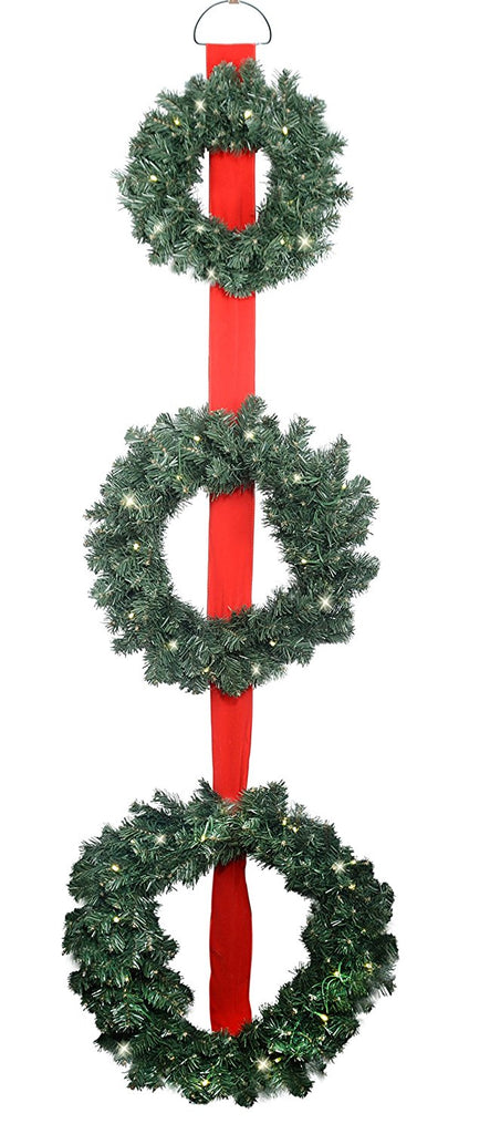 3 Pre-Lit Balsam Christmas Pine Wreaths on Red Ribbon - Battery Operated LED Lights With Timer - 12, 17 and 20 Inches Wreaths