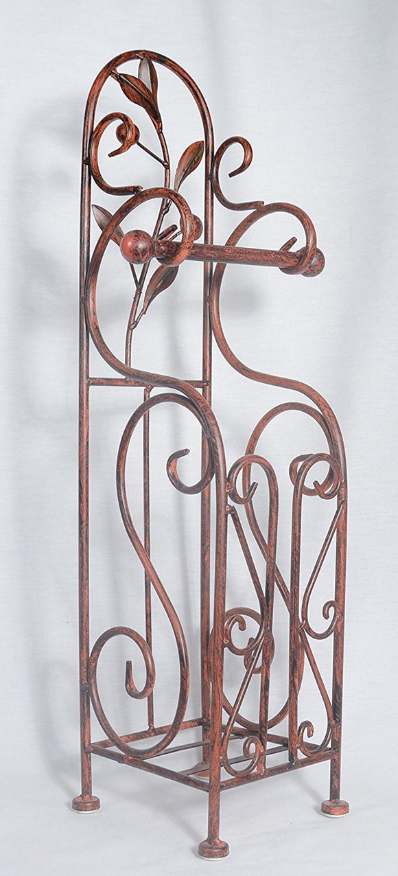 Metal Toilet Paper Holder, 24 Inch x 7 Inch, Reddish/Bronze Color