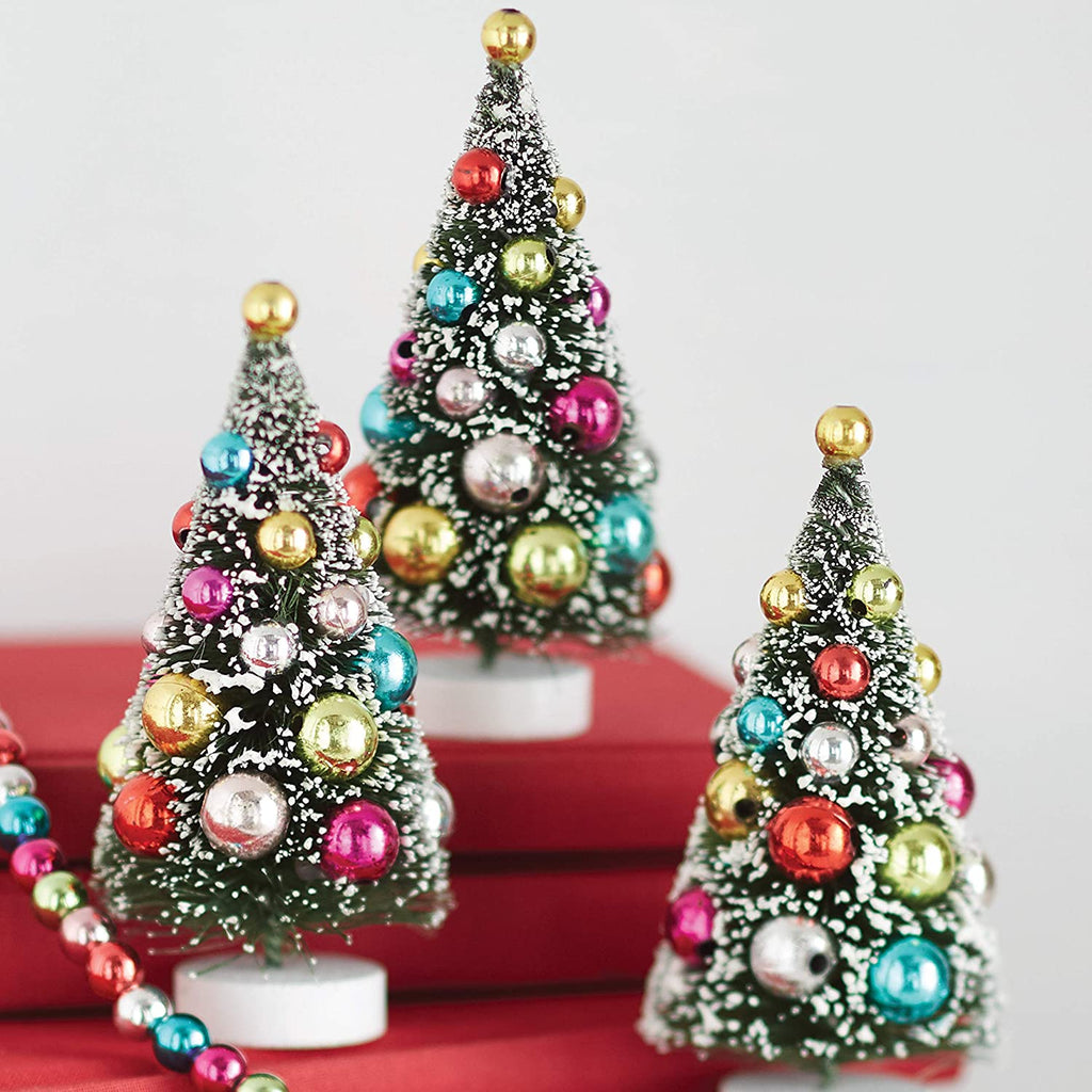 Mini Decorated Christmas Tree Figurines - Set of 3
