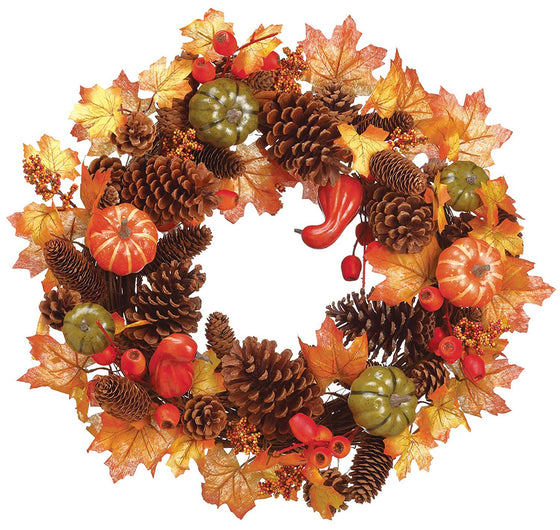 TenWaterloo 22 Inch Fall Wreath with Pine Cones, Fall Leaves, Berries and Pumpkins on a Grapevine Base, Artificial Floral