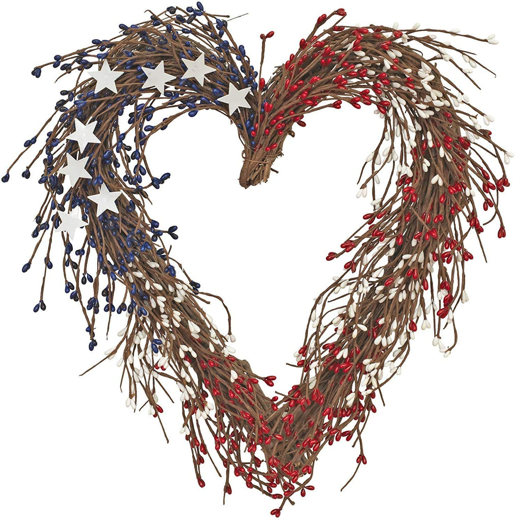 GER Americana Heart Shaped Wreath in Red, White and Blue Faux Berries with White Stars 17 Inches x 15.5 Inches- Patriotic Wreath Decoration