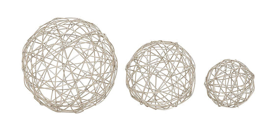Ten Waterloo Set of 3 Silver Metal Decorative Spheres- 4, 6 and 8 Inches Diameter