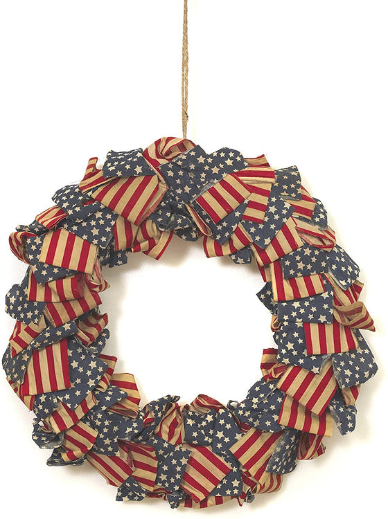 20 Inch Americana Fabric Wreath - Red, White, Blue and Cream Patriotic Wreath with Stars and Stripes
