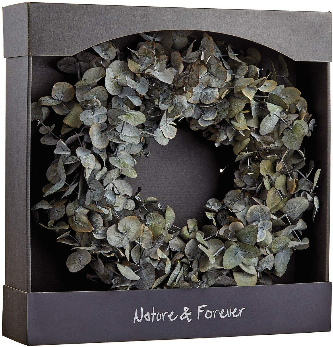 TenWaterloo 16 Inch Preserved Eucalyptus Natural Wreath, Real Eucalyptus Front Door Wreath
