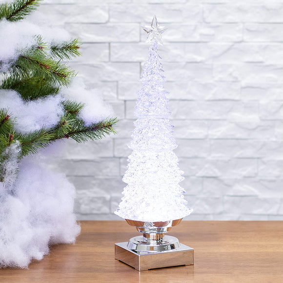 Transpac Large Light Up Classic Glitzmas Tree Silver 14 x 5 Acrylic Christmas Figurine