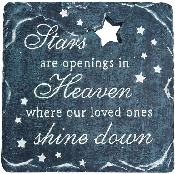TenWaterloo Memorial Garden Stepping Stone, Stars are Openings in Heaven Where Our Loved Ones Shine Down, 9-3/4 Inches