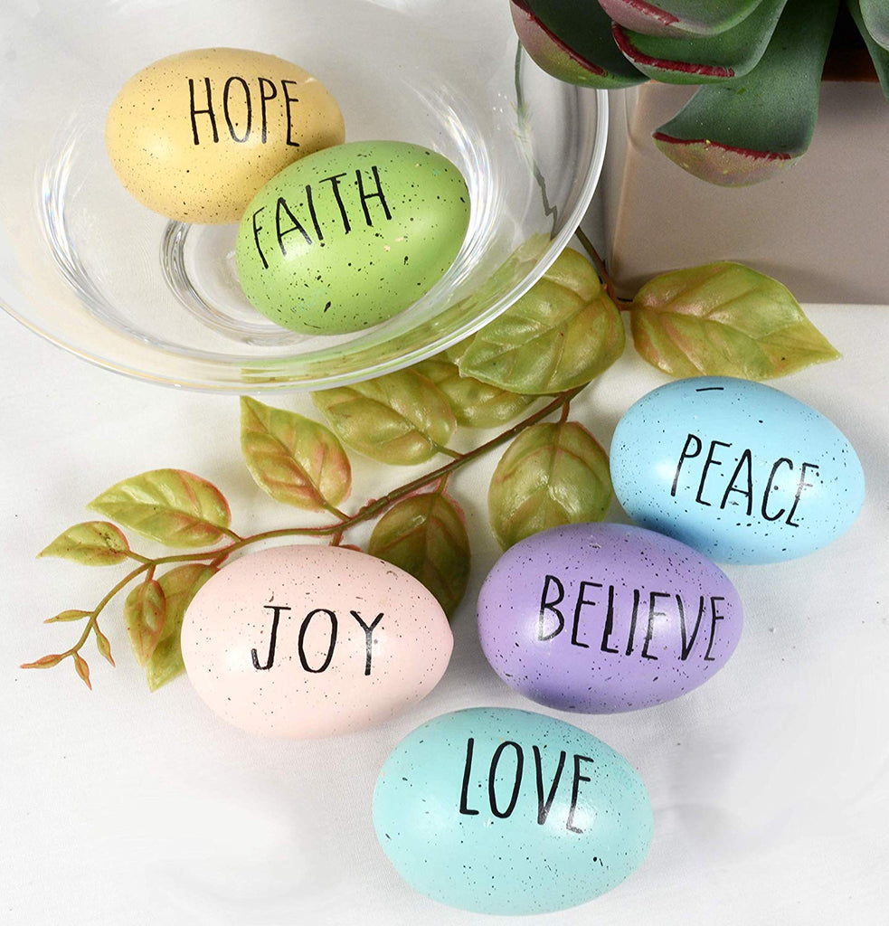 TII Boxed Set of 6 Speckled Ceramic Easter Eggs with Words of Inspiration