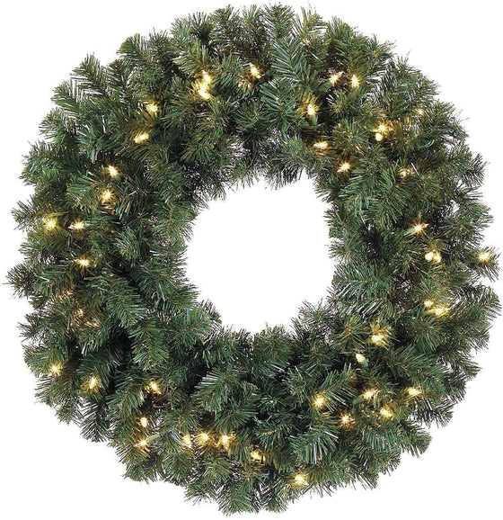 TenWaterloo 30 Inch Battery Operated Pre-Lit Christmas Pine Wreath with 50 LED Clear Lights and Timer, Cordless