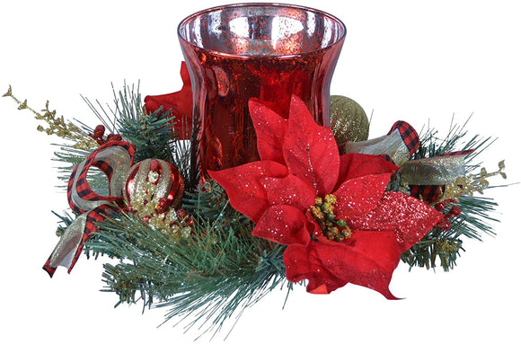 TenWaterloo Poinsettia and Pine Glass Hurricane Centerpiece Pillar Candle Holder in Red, Green and Gold, Artificial Floral Christmas Centerpiece 8 Inches High x 14 Inches Wide