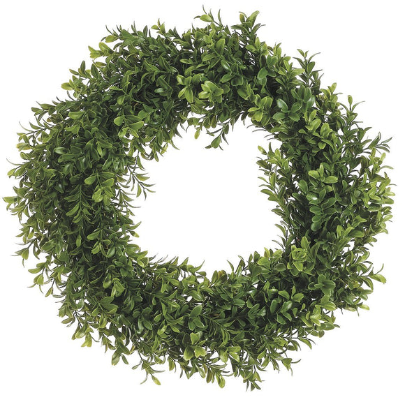 "17"" Boxwood Wreath Two Tone Green (Pack of 1)"