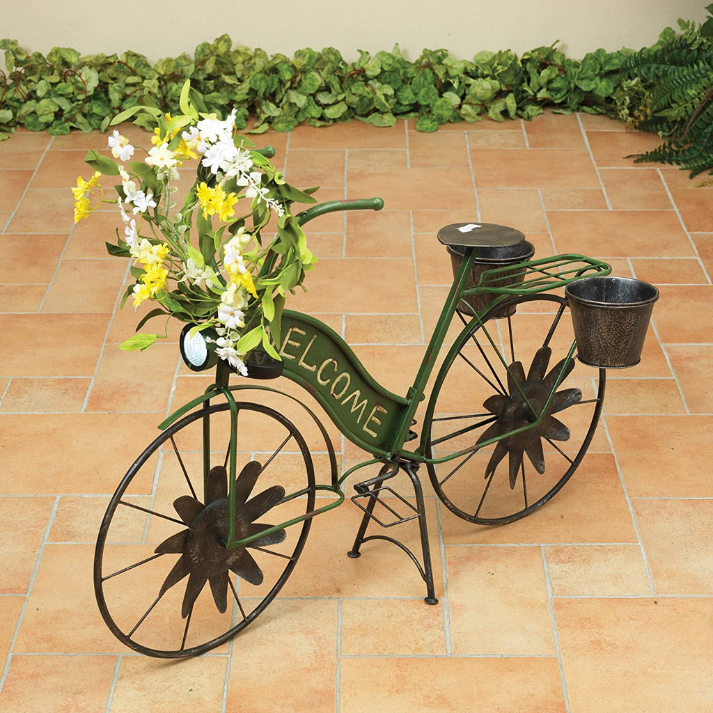 37 Inch Solar Green Metal Bicycle, Spring Decor, 37.2InL x 14.25InW x 24.75InH,