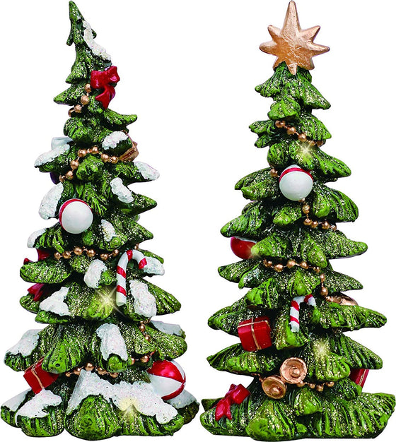 TenWaterloo Christmas Resin Holiday Tree Set of 2 Figurine, Green, 6 Inches High