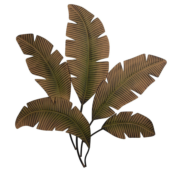 Palm Leaf Metal Wall Art Sculpture 35 Inches Wide x 34 Inches High, Matte Finish