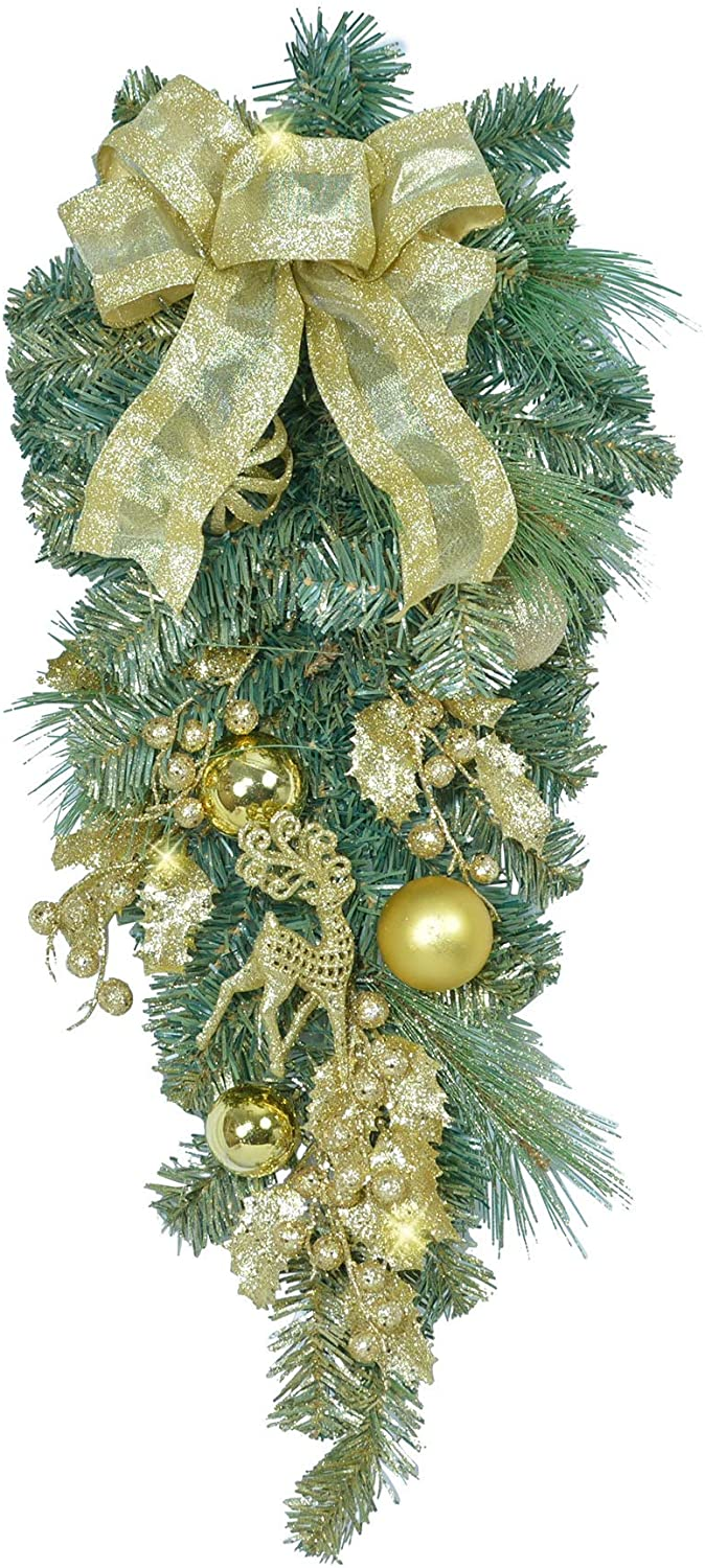 TenWaterloo 28 Inch Gold Glittered Christmas Front Door Teardrop Swag with Bow, Ornaments and Sparkling Accents, Artificial Floral