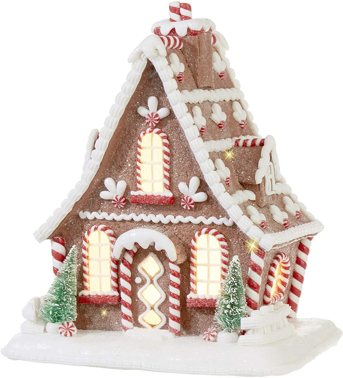 TenWaterloo Large Lighted Gingerbread Peppermint Candy House in Clay Dough Resin with Frosted Snow Look, Battery Operated, 10 inches High x 8.5 Inches Wide