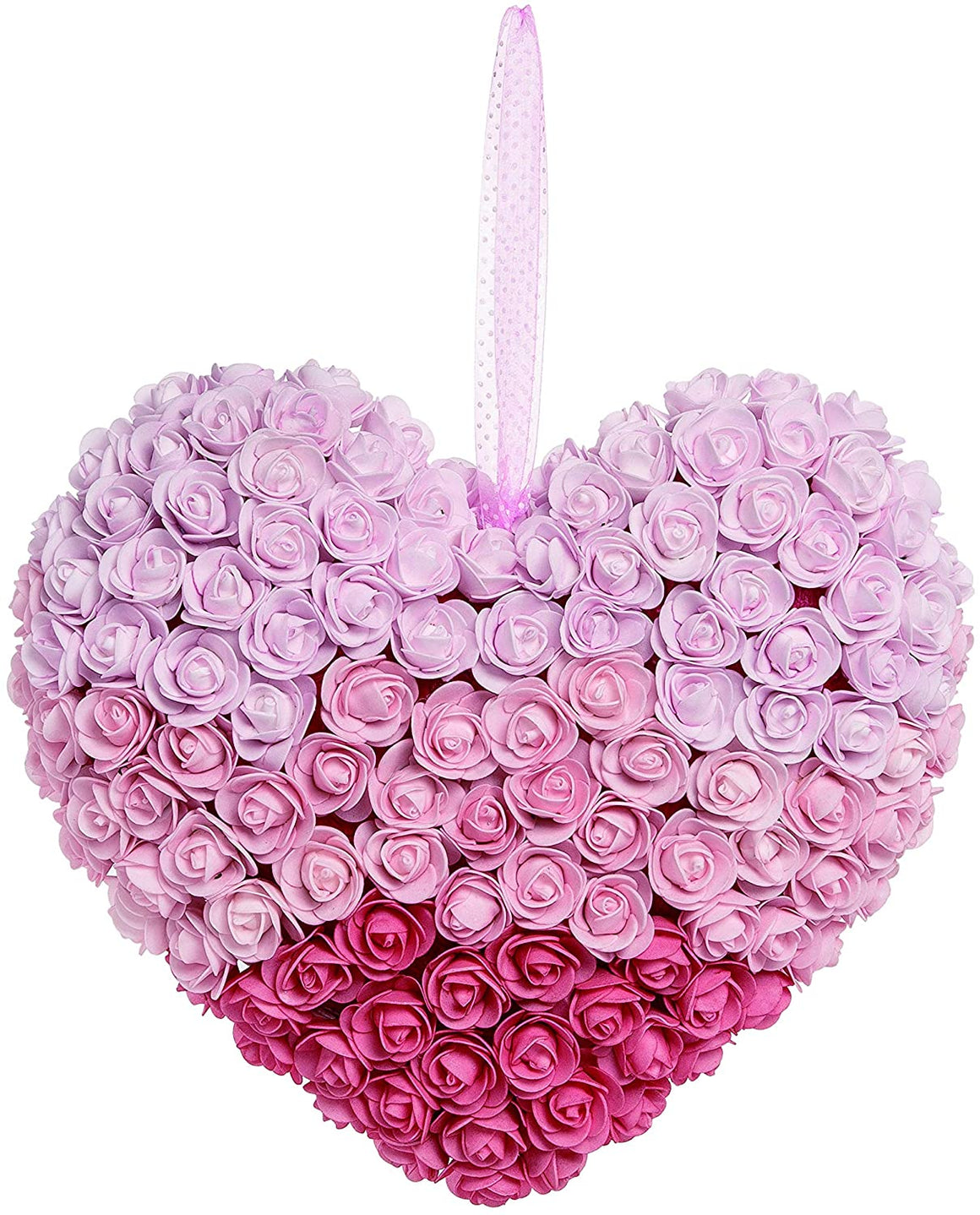 TII Soft Rose Heart Shaped Valentine's Day Wreath, 15.5 Inches in Soft Pinks with Hanging Ribbon