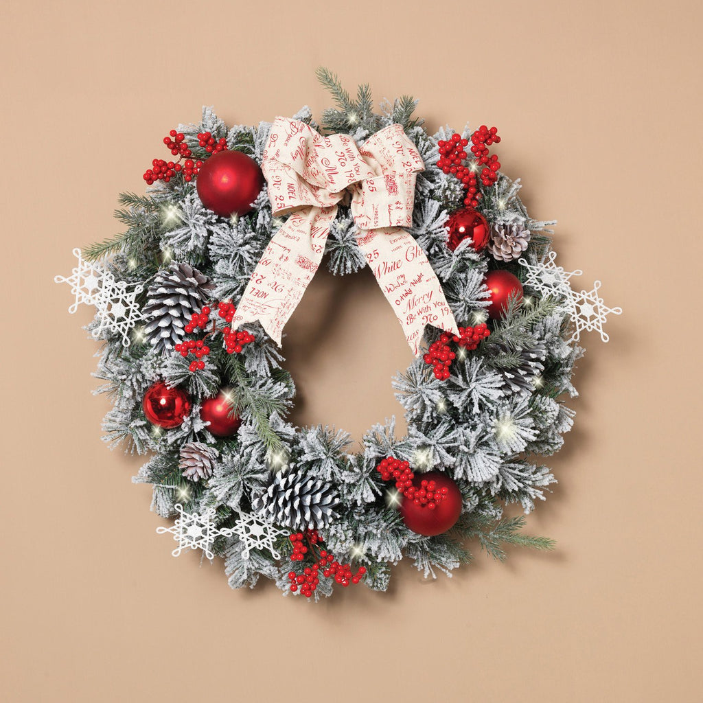 24 Inch Lighted Battery Operated Flocked Pine Wreath with Red Ball Ornaments, Berries and Bow - Artificial Pine Christmas Wreath 30 Micro LED Lights
