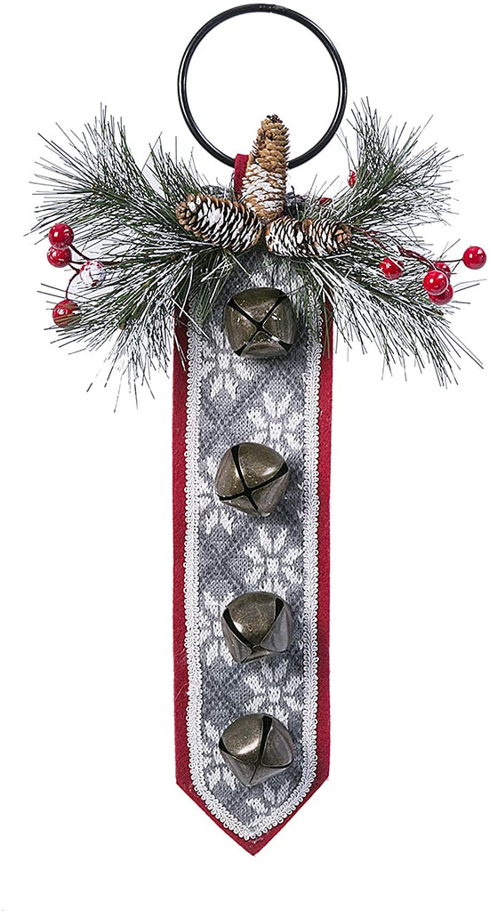 TenWaterloo 20 Inch Christmas Door Hanger with Bells and Snow Tipped Artificial Greenery, Red Felted Backer with Grey and White Knitted Accent
