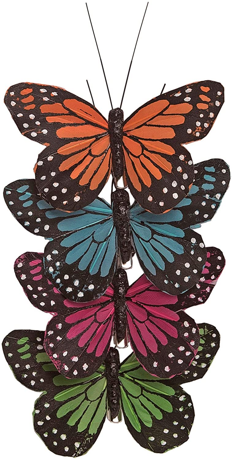 Set of 4 Clip on Butterflies in Orange, Teal Blue, Pink, Green 3.5 Inches Wide