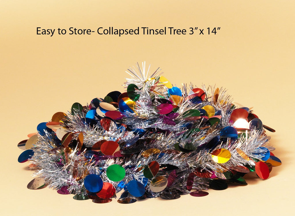Pop Up Tinsel Tree - Silver with Multi-Colored Circles Christmas Pull Up Tree 5 Feet High