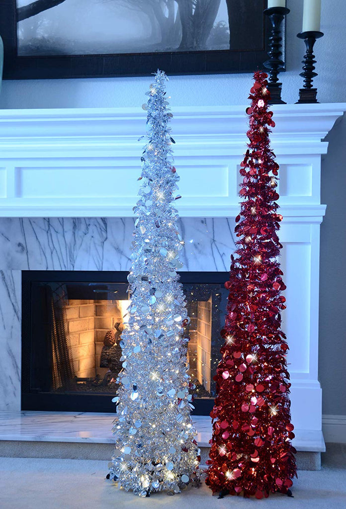Pop Up Lighted Tinsel Tree - Red with Lights, Christmas Pull Up Tree 5 Feet High - Battery Operated with Timer