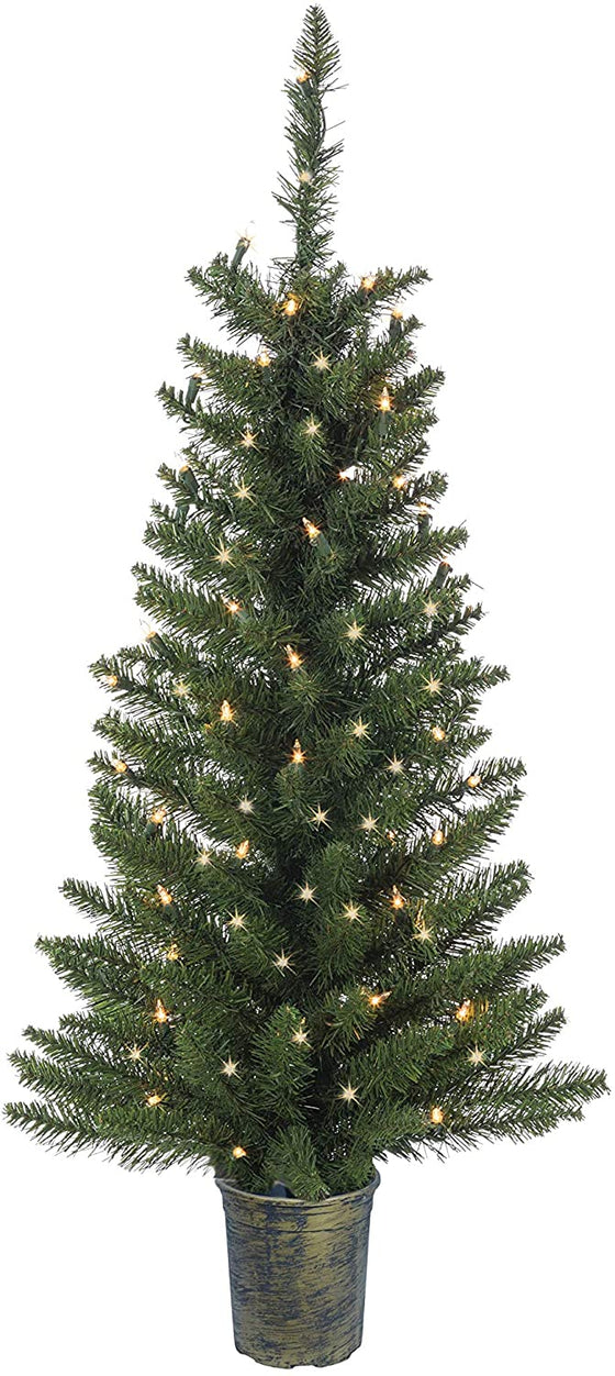 3.5 Foot Lighted Artificial Colorado Spruce Topiary Tree, Battery Operated with Timer, Indoor Outdoor Potted Tree