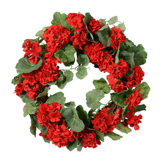 Ten Waterloo Small Red Geranium Wreath and Candle Ring, 14 Inches, Artificial Floral, Hand Tied Twig Base
