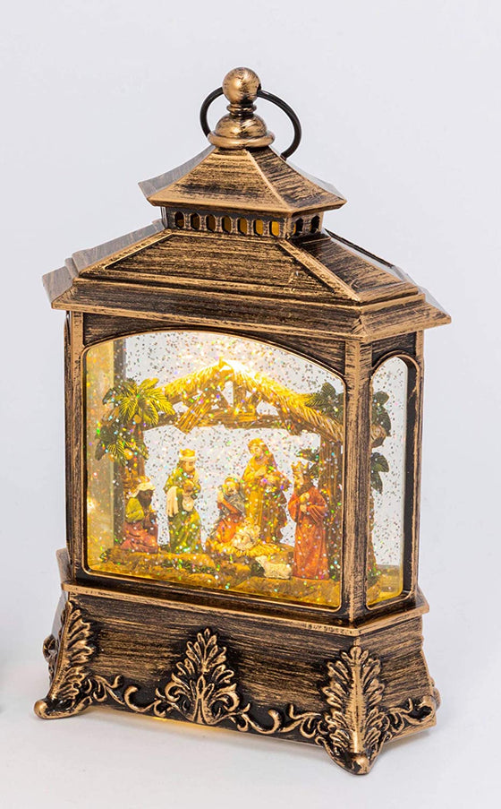 Christmas Nativity Scene Musical Lighted Water Lantern,10.5 Inches High, Battery Operated with Timer- 2 Modes, Christmas Snow Globe with Swirling Glittered Snow Effect- Gold/ Black Finish, Red Accents