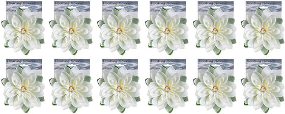 TenWaterloo Set of 12 Floating Lotus Flowers, Artificial White Lotus Blossoms for Pools, Ponds and Parties