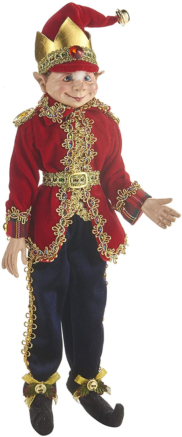 16 Inch Posable Christmas Elf in Burgundy and Blue Velvet with Gold Trim and Bells, Collectible Figurine, Nutcracker Traditions