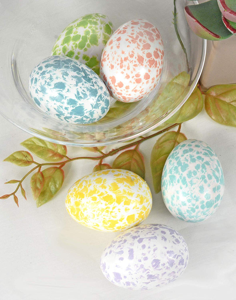TII Boxed Set of 6 Speckled Ceramic Easter Eggs